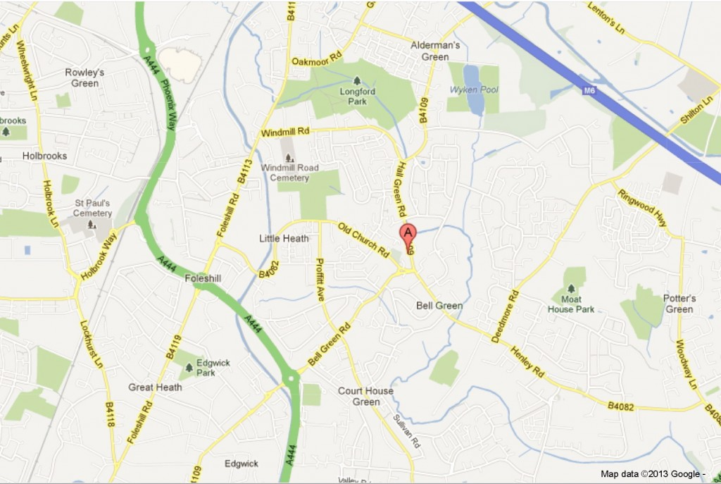 Location of 51 Hall Green Road, Coventry